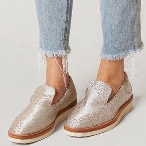 Free People Snake Eye Metallic Platform loafer